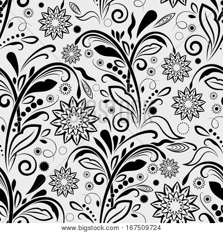 Seamless black and white floral vintage pattern.