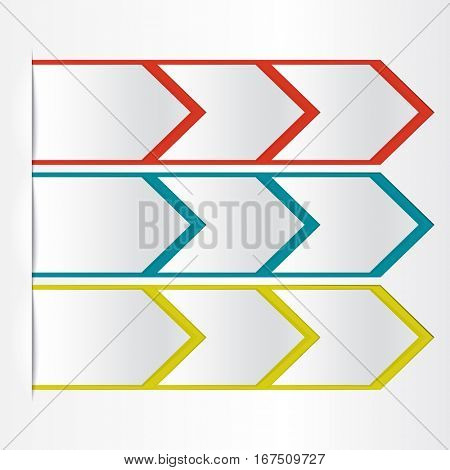 White blank paper arrow with color outline