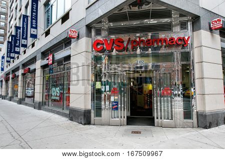 New York January 21 2017: Doors are open into a 24 hour CVS pharmacy on Upper West Side in Manhattan.