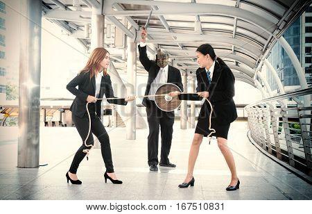 Tug of War office business workers businesswomen battle success