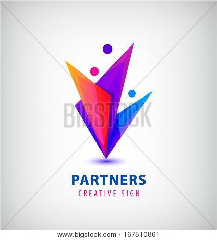Vector men group logo, human, family, teamwork icon. Community, people sign in modern style. Colorful 3 person