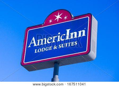 BALDWIN WI/USA - JANUARY 7 2017: AmericInn Motel sign and logo. AmericInn is an American hotel franchise chain.