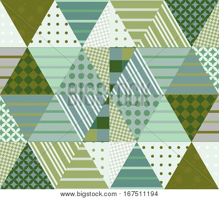 Ethnic Patchwork Pattern In Green Tones. Seamless Background. Vector Illustration Of Quilting.