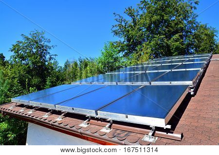 solar energy panels on the roof of the house
