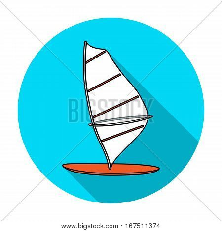 Windsurf board icon in flat design isolated on white background. Surfing symbol stock vector illustration.