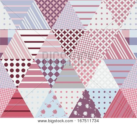 Seamless patchwork pattern from different triangle patches. Vector illustration. Quilt in pink and grey tones.