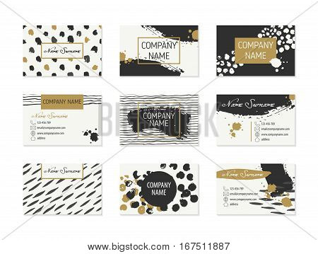 Set of Business Cards with hand drawn design elements made with ink in black, white and gold colors. Modern hipster style for identity design. Collection of creative cards with different textures.