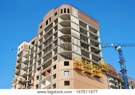 Monolithic concrete frame building under construction close-up