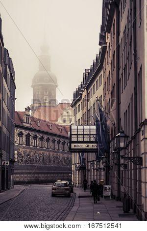 Dresden, Germany - 2 Jan. 2008: Narrow street next to the Zwinger in downtown Dresden