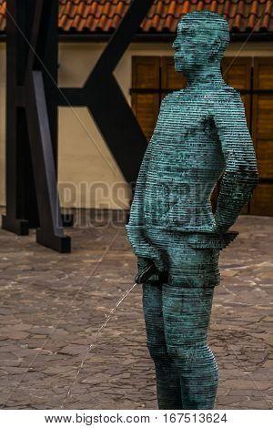 Prague, Czech Republic - 4 January 2008: Statue at the Franz Kafka museum in Prague