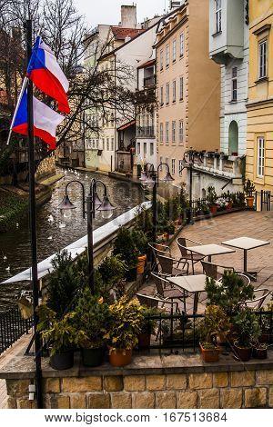 Empty riverside cafe in Prague Czech Republic
