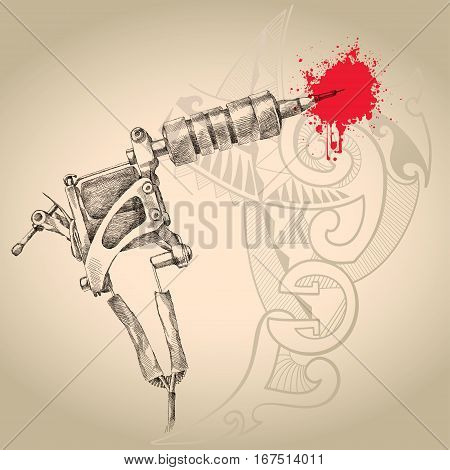 Vector illustration of handmade induction tattoo machine in black with red drops on the background with Polynesian design. Tattoo equipment for artist in sketch style.