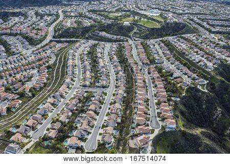 Aerial of suburban cul-de-sacs in the Stevenson Ranch community of Los Angeles County California.