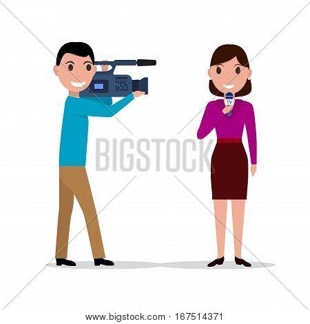 Vector illustration of cartoon man with a video camera cameraman filmed woman journalist with microphone. Isolated on white background. Flat style. Male video operator and female journalist.