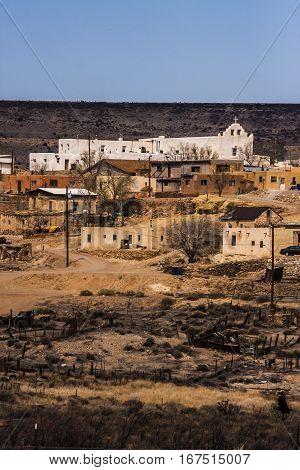 Old Spanish mission of Puebla de Laguna in New Mexico