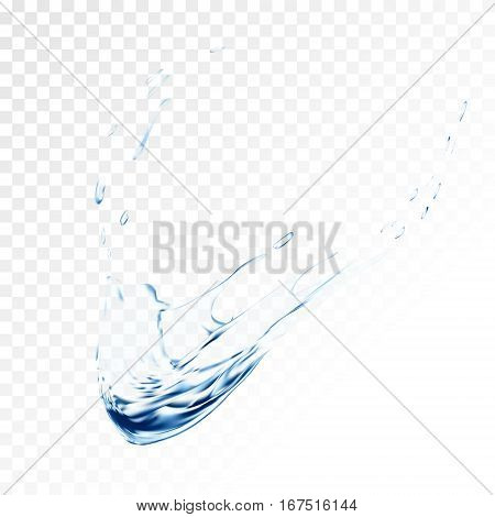 Blue water vector splash isolated on transparent background. blue realistic aqua spray with drops. 3d illustration. semitransparent liquid surface backdrop created with gradient mesh tool