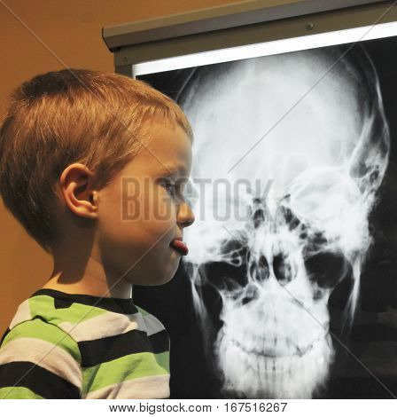 LAS VEGAS, NEVADA, DECEMBER 29. The Discovery Children's Museum on December 29, 2016, in Las Vegas, Nevada. A Boy Disapproves of an X-ray at the Discovery Children's Museum in Las Vegas Nevada.
