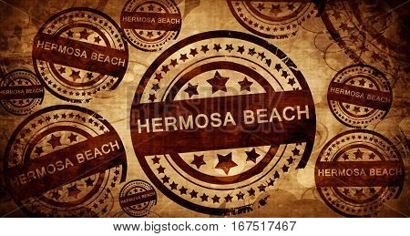 hermosa beach, vintage stamp on paper background