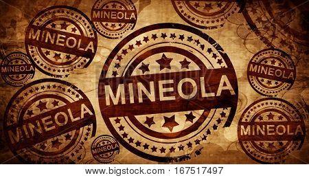 mineola, vintage stamp on paper background