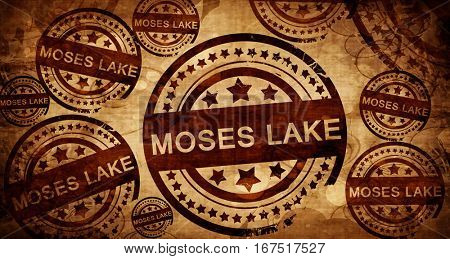 moses lake, vintage stamp on paper background