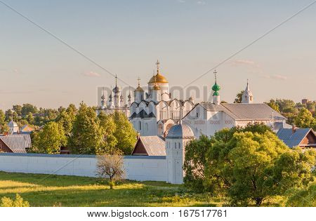 Convent of the Intercession or Pokrovsky monastery in the ancient town of Suzdal, Russia. Golden Ring of Russia.