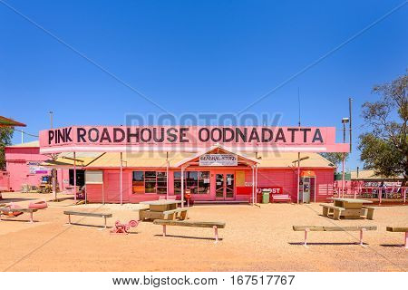 OODNADATTA AUSTRALIA - OCTOBER 24 2016: The Pink Road House at Oodnadatta the start of the Oodnadatta Track Outback South Australia Australia.