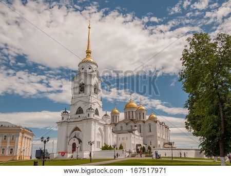 VLADIMIR, RUSSIA - JUNE 7, 2015: Dormition Cathedral or Assumption Cathedral and Bell tower in Vladimir, Russia. UNESCO World Heritage Site.