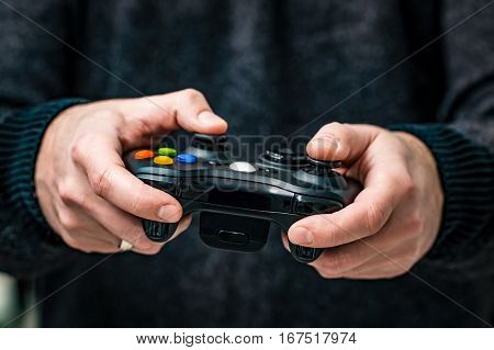 gaming game play tv fun gamer controller gamepad guy player video console electronics cyberspace concept - stock image