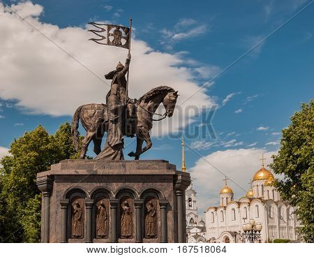 Monument of Prince Vladimir in front of the Assumption cathedral in Vladimir, Russia. Golden Ring of Russia. UNESCO World Heritage Site.