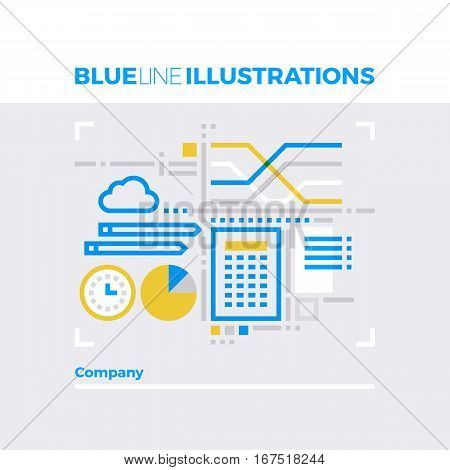 Company Workflow Blue Line Illustration
