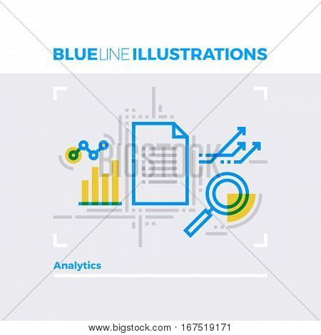 Data Analytics Blue Line Illustration.
