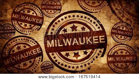 milwaukee, vintage stamp on paper background