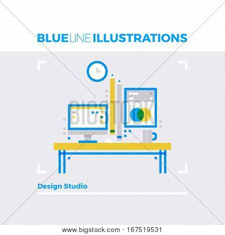 Design Studio Blue Line Illustration.