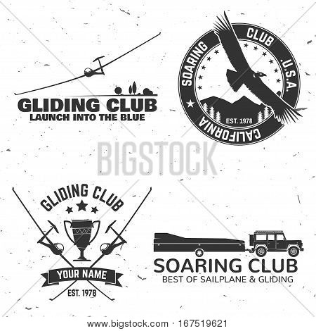 Set of Gliding club retro badge. Concept for shirt, print, seal, overlay or stamp. Typography design- stock vector. Soaring club design with glider silhouette.