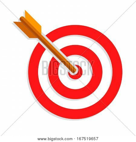 Target with arrow. Target with dart isolated on white background. Target icon in flat design. Vector illustration.