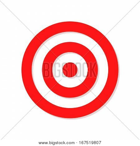 Red target sign. Target isolated on white background. Target icon in flat design. Vector illustration.
