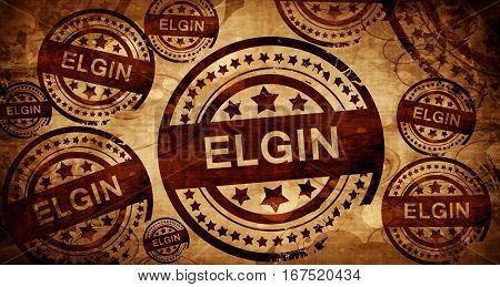 elgin, vintage stamp on paper background