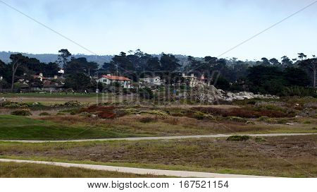 CARMEL, CALIFORNIA, UNITED STATES - OCT 6, 2014: beautiful houses at the Pebble Beach Golf Course, which is part of the famous 17 miles drive area.