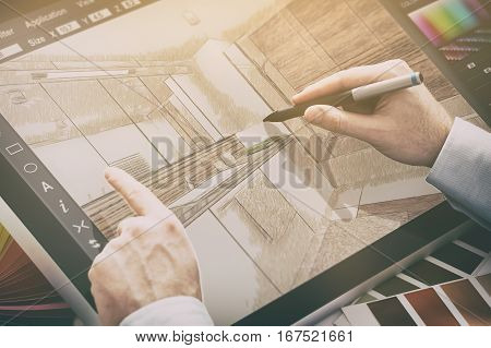 designer graphic drawing interior creative creativity draw work tablet screen sketch designing design artist color concept - stock image