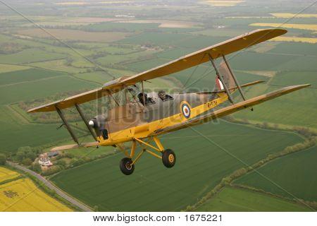 de Havilland Tiger Moth G-APAP captured over Bedfordshire in the UK poster