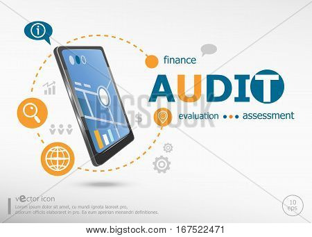 Audit Word Cloud Concept And Realistic Smartphone Black Color.