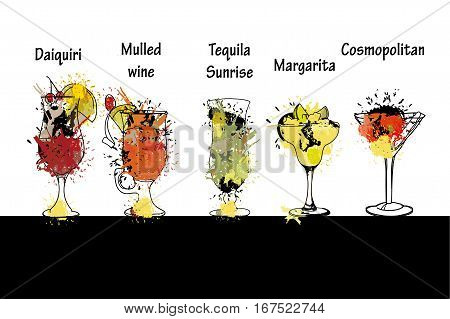 Vector illustration of Cocktail set with name. Template for cocktail menu. Alcohol, daiquiri, mulled wine, tequila sunrise, margarita, cosmopolitan. Summer drinks. Spray, spot watercolor effect