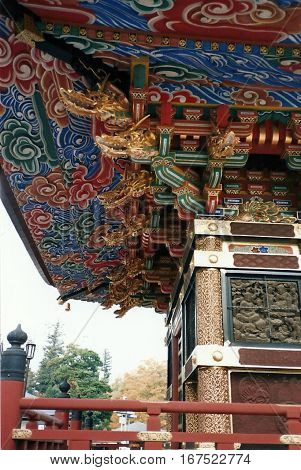 Decorative eaves under a roof of the Three-Storied Pagoda at the Narita-san Shinshō-ji Shingon Buddhist temple in Narita, Japan.