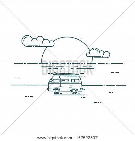 Surf van on the beach. Vector flat line illustration. Minivan with sunset landscape. Adventure and Travel concept