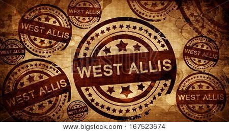 west allis, vintage stamp on paper background