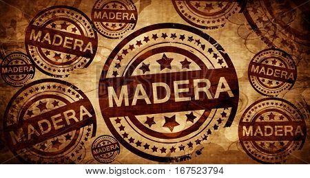 madera, vintage stamp on paper background
