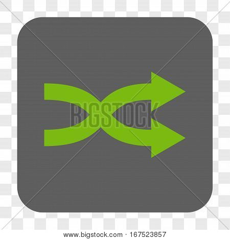 Shuffle Arrows Right interface toolbar button. Vector icon style is a flat symbol inside a rounded square button light green and gray colors chess transparent background.