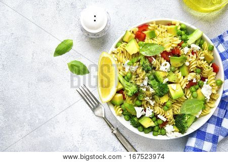 Pasta Salad With Green Vegetables And Feta.top View.