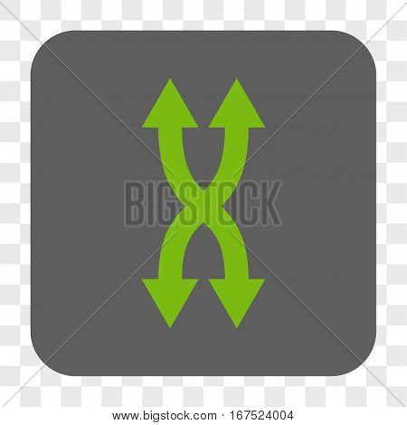 Shuffle Arrows Vertical interface toolbar button. Vector icon style is a flat symbol on a rounded square button light green and gray colors chess transparent background.