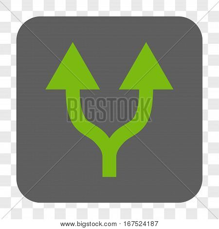 Split Arrows Up interface toolbar button. Vector icon style is a flat symbol inside a rounded square button light green and gray colors chess transparent background.